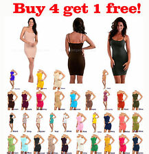 Womens Camisole Spaghetti Bodycon Long Tank Top Shirt New Mini Dress Size S,M,L