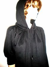 MARC BY MARC JACOBS BLACK  OVERSIZED TICK COTTON BLEND HOODED BLOUSE SIZE S