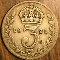 1921 UK GREAT BRITAIN SILVER THREEPENCE