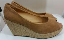 Ladies Suede High Wedge Heel Espadrilles Platform Shoes Peep Toe Woman Sz 7 UK