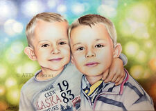 CUSTOM coloured pencils PORTRAIT -size  A3- hand drawn portrait from your photo