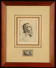 ANTIQUE ETCHING JOSEPH JOZEF CONRAD PENCIL SIGNED BY LISTED ARTIST WALTER TITTLE