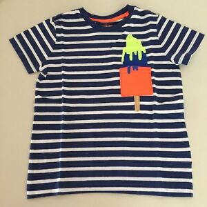 """Mini Boden AWESOME Boys Striped """"ICE CREAM"""" Pocket T-Shirt. 7-8 years. So Comfy!"""
