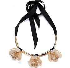 BEAUTIFUL MARNI BEIGE GOLD FLOWER  CRYSTALS BLACK RIBBON STATEMENT NECKLACE