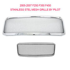 2005-2007 for Ford F250 F350 Grille CHROME ABS FRAME  SS Wire Mesh Front Grille