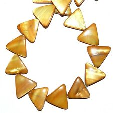 MP1969L Golden Brown Mother of Pearl 20mm Flat Triangle Gemstone Shell Beads 15""