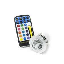 Faretto lampada led mr16 rgb 5w cromoterapia 16 colori luce 12v con telecomando
