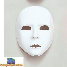 MASQUERADE HALLOWEEN PLAIN WHITE FACE MASK Unisex Fancy Dress Costume Accessory