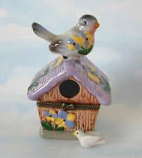 New Handpainted Lavendar Bird & Birdhouse & Flowers Porcelain Hinged Trinket Box