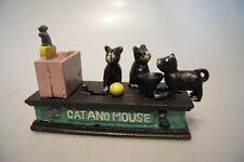 Mechanische Spardose aus Gußeisen, Katz und Maus, Money Box