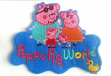cartoon peppa pig world peppa pig family Embroidered Iron On / Sew On Patch