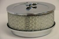 "6 3/8"" x 3 7/8"" Chrome 4 BBL Round Air Cleaner Domed Top Chevy SBC 350 BBC 454"