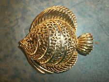 Vintage Large Monet Goldtone Fish Pin/Brooch Free Shipping