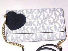 Michael Kors Jet Set Large Phone Crossbody Wallet Navy Heart White Signature NWT