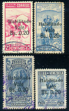 Venezuela 1943, Set of 4 Surcharged Stamps, SC 384/7, Used