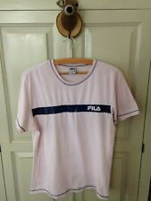Women's pale pink active wear T-shirt with glitter navy strip, FILA size 16