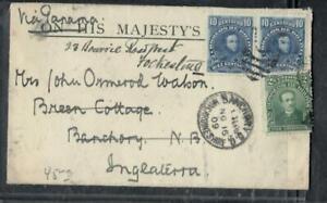 BOLIVIA COVER (P1308B)  1909 10CX2+2C ON OHMS ENVELOPE, VIA PANAMA TO ENGLAND