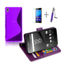 PURPLE Wallet 4in1 Accessory Bundle Kit S TPU Case Cover For Sony Xperia Z5
