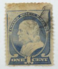 1887 Ultramarine 1 Cent Benjamin Franklin Postage Stamp Used