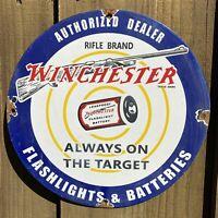 VINTAGE WINCHESTER GUN PORCELAIN SIGN RIFLE SHOTGUN OIL GAS FLASHLIGHT BATTERY