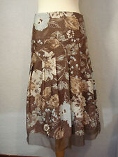 Principles duck egg blue & brown silk mix skirt 14