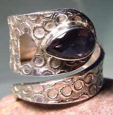 Sterling silver cut deep blue iolite coiled design ring UK P/US 7.75-8