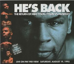 """1995 MIKE TYSON vs PETER MCNEELEY """"He's Back"""" Boxing Pay Per View PPV Brochure"""