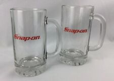 Snap On Tools Glass Beer Mugs Set of 2 Heavy Glasses