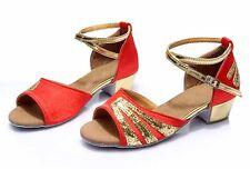 New heeled ballroom Salsa tango latin dance shoes children girls women kids size