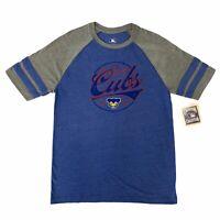 "MLB Chicago Cubs ""CHI"" Retro Cub Bear Stripe Raglan Short Sleeve T-Shirt Tee"