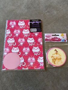 2 Sheets Cat Gift Wrap/Wrapping Paper & 2Tags & 1 Pack Disney Princess Gift Tags