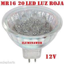 BOMBILLA MR16 20 Leds LUZ ROJA 12V 1W Casquillo Lampara GX5,3 COLOR ROJO