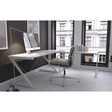 Ecktisch Z-Line Schreibtisch in weiß mit Metallrahmen und Sicherheitsglasscheibe