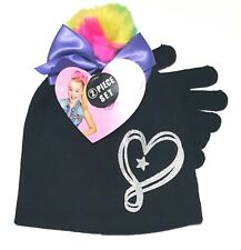 Jojo Siwa Rainbow Beanie 3D Bow Hat and Gloves 2 pc Girls Black/Silver Christmas