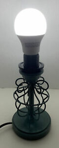 Green Metal Industrial Style Table Lamp Circular Scroll Modern Décor (No Shade)
