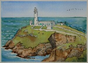 An original watercolour painting of South Stack Lighthouse, Wales.