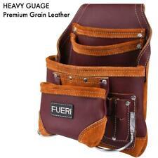 10 Pocket FULL GRAIN LEATHER Carpenter Nail & Tool Pouch bags waist belt
