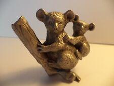 "2 1/2"" Rawcliffe Pewter Koala Bear Mom And Baby In Tree Miniature Figurine"