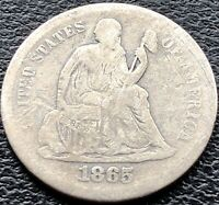 1865 S Seated Liberty Dime 10c San Francisco RARE Key Date Better Grade #15123