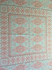 Vintage Beauville Tablecloth By Martine Nourissant Pink Red Green Paisley