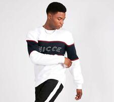 MENS NICCE CLUB PANEL SWEATSHIRT WHITE/BLACK (SA2) RRP £49.99