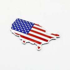 Chrome Metal 3D Decal Sticker US USA American Map Flag Emblem Badge Car Parts