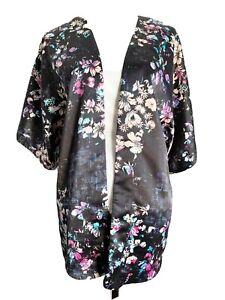 WAREHOUSE Kimono Jacket M Black Multi Floral Abstract Open Edge Satin Party