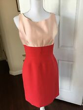 Oscar de la Renta Colorblock Red Pink Silk Blend Sleeveless Sheath Dress- Size 6