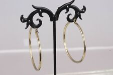 "GOLD TONE WIRE HOOP 1 3/4"" ROUND EARRINGS FASHION  7873B"