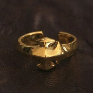Details Gold Plated Brass Simple Cross Ring Charms Punk Ring GP110B UK M½~Z4