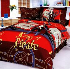 Twin Duvet Cover Set, 100% Cotton 4 Piece Pirates Theme, Fun Kids Bedding LE40T