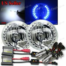 "FIT CHEVY/GMC 7"" H6017 H6024 ROUND 18 BLUE LED RIM HEADLIGHT+35W HID KIT 6000K"