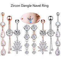 Fashion CZ Dangle Navel Ring Belly Button Ring Surgical Steel Bar 14G Piercing