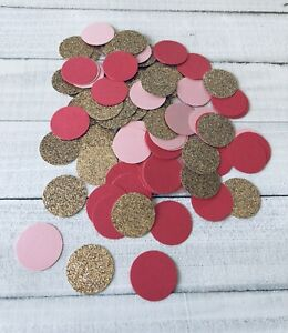 """Confetti 1"""" Paper Circles Glitter Champagne Gold with Pinks Birthday Wedding"""
